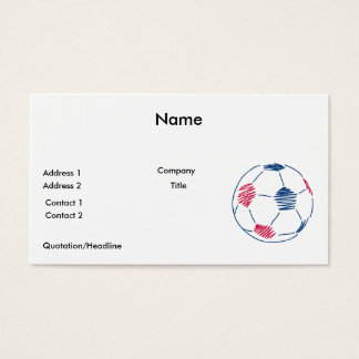 red and blue soccer scribble graphic business card