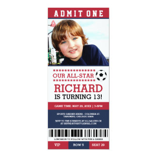 Red and Blue Soccer Ticket Birthday Invites