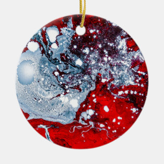 Red and Blue space marble Christmas Ornament