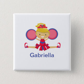Red and Blue Spirit Girl Cheerleader Square Button