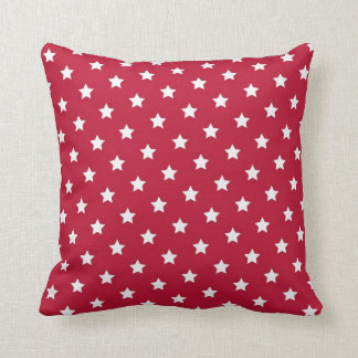 Red and Blue Star Throw Pillow