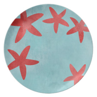 Red and Blue Starfish Plate
