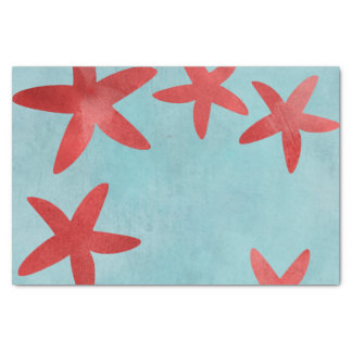 Red and Blue Starfish Tissue Paper