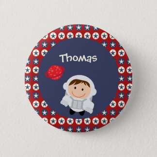 Red and Blue Stars Astronaut Button