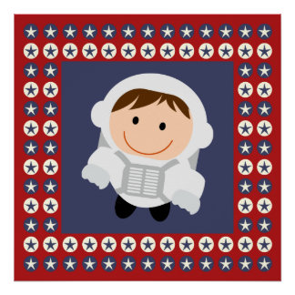 Red and Blue Stars Astronaut Poster