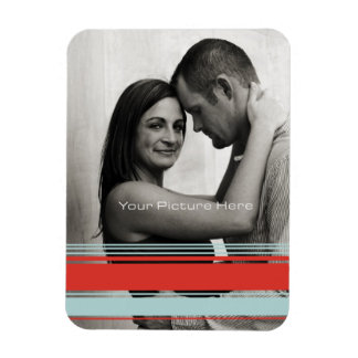 Red and Blue Stripes Wedding Engagement Rectangular Photo Magnet