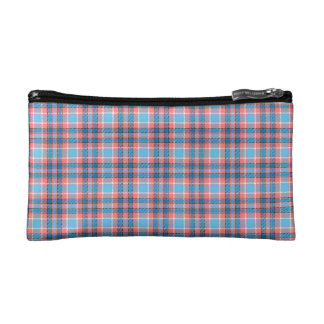 Red and blue tartan makeup bag