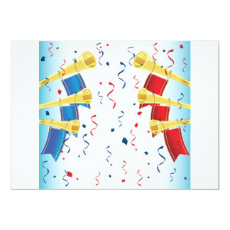 Red and Blue Team Trumpets Invitations