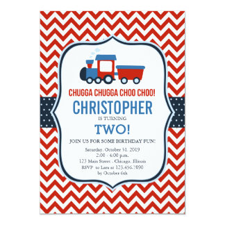 Red and Blue Train Birthday Party Invitation