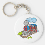 Red and Blue Train Key Chains