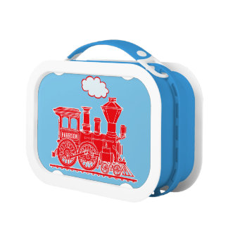 Red and blue train kids named lunch box