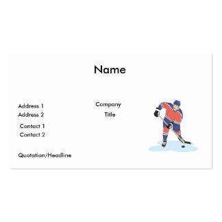 red and blue uniform ice hockey player vector grap pack of standard business cards