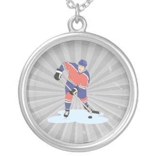 red and blue uniform ice hockey player vector grap silver plated necklace