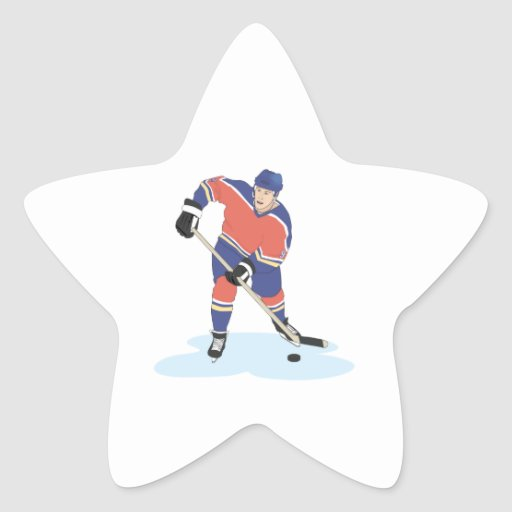 red and blue uniform ice hockey player vector grap sticker