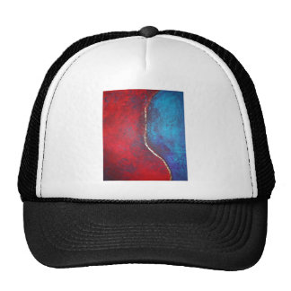 Red and Blue with Gold Philip Bowman Abstract Art Hats