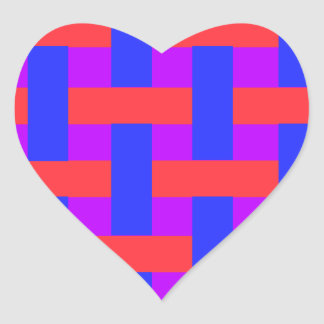 Red and Blue Woven Heart Sticker