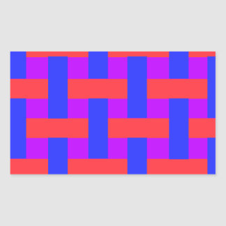 Red and Blue Woven Rectangular Sticker