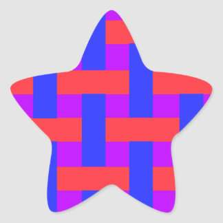 Red and Blue Woven Star Sticker