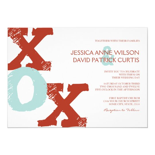Red and Blue XOX Wedding Invitation