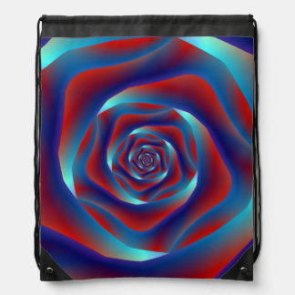 Red and Blues Spiral Rose Drawstring Bag