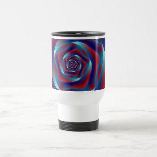 Red and Blues Spiral Rose Mug