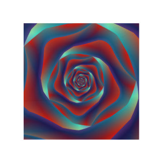 Red and Blues Spiral Rose Wood Canvas
