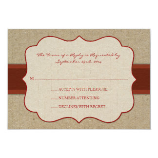 Red and Brown Chic Wood Grain Wedding rsvp Custom Announcements