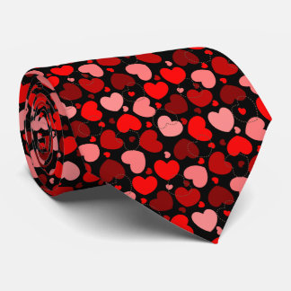 Red and brown color heart pattern tie