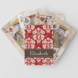 Red and Brown Damask Bicycle® Playing Cards