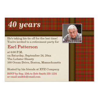 Red and Brown Plaid, Retirement Invitation
