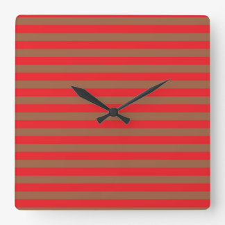 Red and Brown Stripes Square Wall Clock