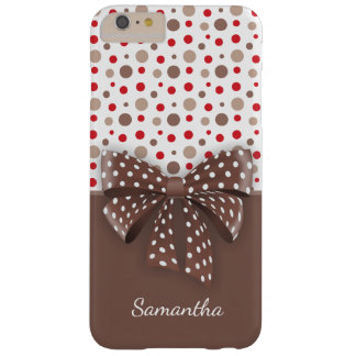 Red and Cappuccino Polka Dots and Chocolate Ribbon Barely There iPhone 6 Plus Case