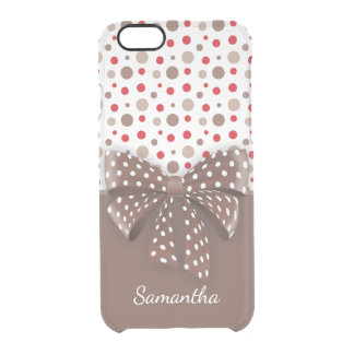 Red and Cappuccino Polka Dots and Chocolate Ribbon Clear iPhone 6/6S Case
