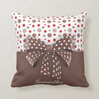Red and Cappuccino Polka Dots and Chocolate Ribbon Cushion