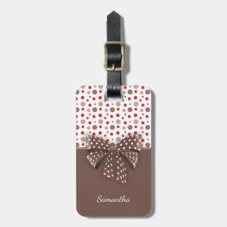 Red and Cappuccino Polka Dots and Chocolate Ribbon Luggage Tag