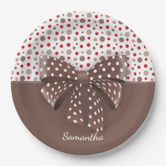 Red and Cappuccino Polka Dots and Chocolate Ribbon Paper Plate