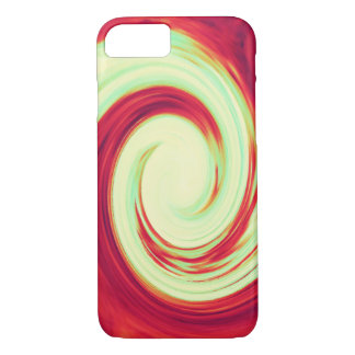 Red and Celadon Green Wave Spiral iPhone 7 Case