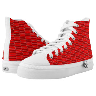 Red and Claret Geometric Pattern Zipz Printed Shoes