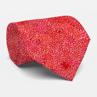 Red and coral flowers, dark red background tie