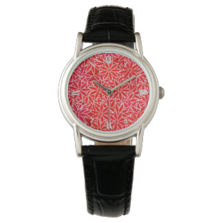 Red and coral flowers, dark red background watch