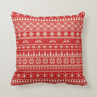 Red and cream Alpine Christmas pattern Throw Pillow