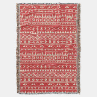 Red and cream Christmas fairisle blanket