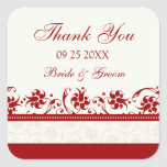 Red and Cream Floral Thank You Wedding Favour Tags Square Stickers