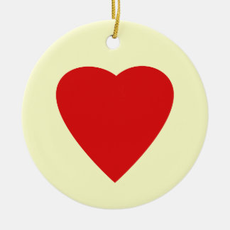 Red and Cream Love Heart Design. Christmas Ornament