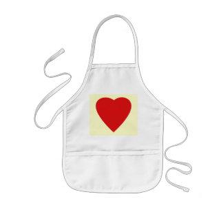Red and Cream Love Heart Design. Kids Apron