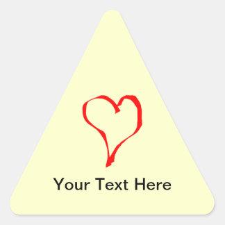 Red and Cream Love Heart Design. Triangle Sticker