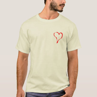 Red and Cream Love Heart Design. T-Shirt