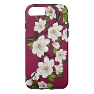 Red And Cream Magnolia iPhone 7, Tough iPhone 7 Case