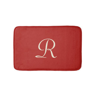 Red and Cream Monogrammed Plush Bath Mat Bath Mats