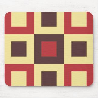 Red and Cream Square Box Geometric Original Design Mouse Pad